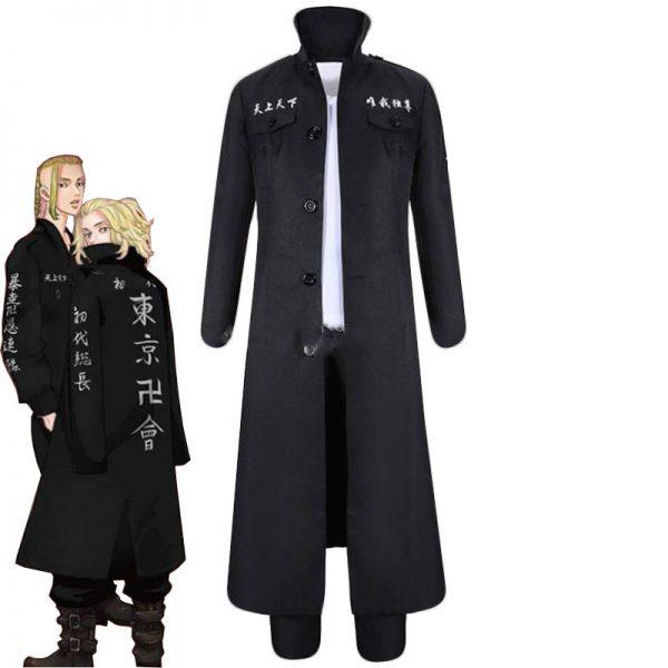 Anime Tokyo Revengers Draken Cosplay Costume Ryuguuji Ken Role Play Suit Black Long Sleeve Overcoat Full - Tokyo Revengers Merch